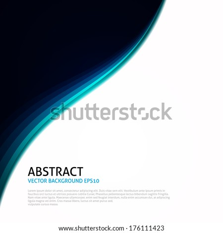 Blue | Black | White Abstract Curves Background  - stock vector