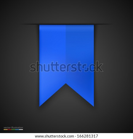 Blue bookmarks isolated on dark background. Vector illustration - stock vector