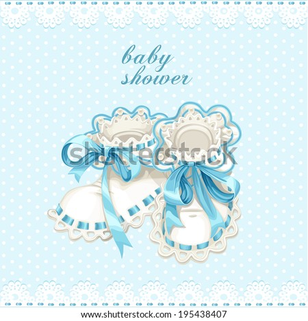Blue booties for newborn baby shower card - stock vector
