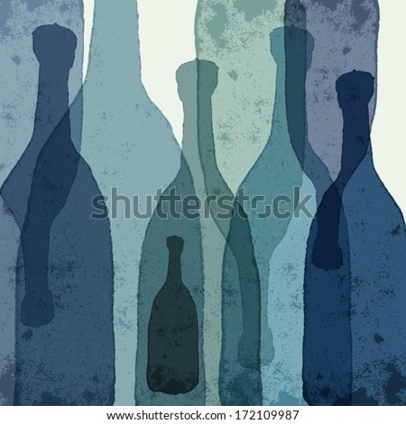 Blue bottles. Watercolor silhouettes. - stock vector