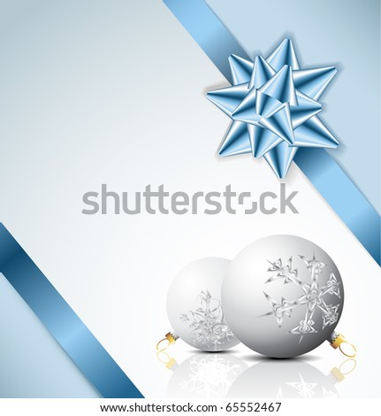 Blue bow on a ribbon with white and blue background - vector Christmas card - stock vector