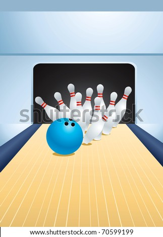 Blue bowling ball smashing pins - stock vector