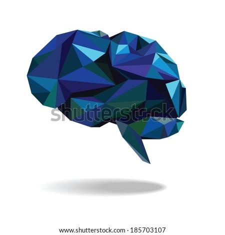 blue brain icon vector - stock vector