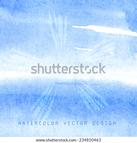 Blue bright skyline in the ocean with sun rays, vector illustration for banner design. - stock vector