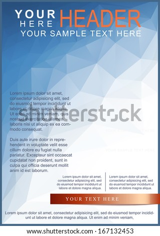 Blue brochure or flyer template on triangle pattern - stock vector