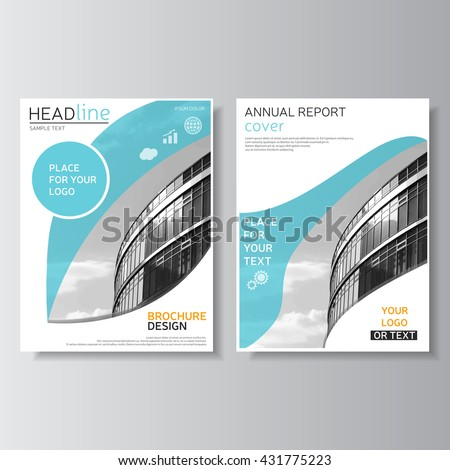 Blue brochure template, annual report cover. Leaflet design. Flyer layout. Magazine cover, brochure design. Leaflet layout. Presentation template. Vector business center photo - stock vector