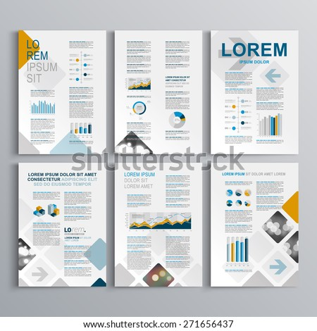 Blue brochure template design with square pattern. Cover layout and infographics - stock vector