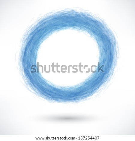 Blue brush stroke in the form of a circle with gray shadow. Abstract ring shape. Drawing created in ink sketch handmade technique. Vector illustration graphics design element 10 eps - stock vector