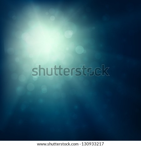 Blue burst - abstract lights background - stock vector
