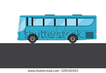 Blue bus on white and grey background. Vector illustration - stock vector