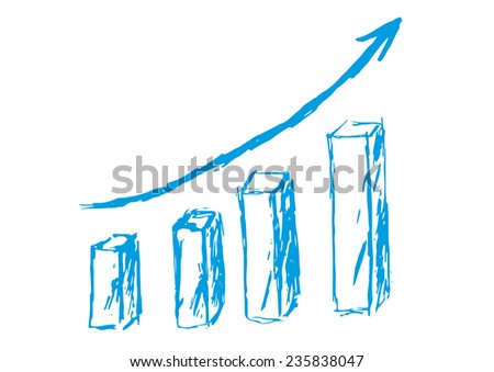 blue business graph with arrow vector sketch on white background - growth concept - stock vector