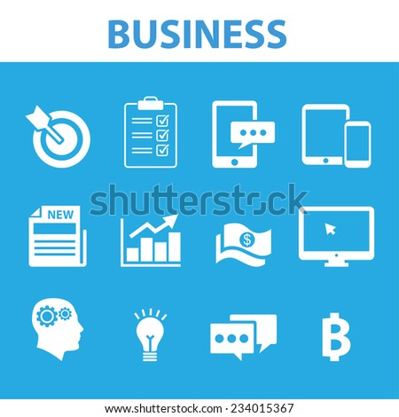 Blue Business Icons All in One Set - stock vector