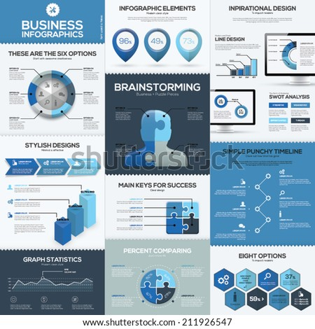 Blue business infographics vector elements and templates. Big collection of modern sign and symbol to create infographic fast. - stock vector