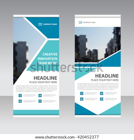 Blue Business Roll Up Banner flat design template ,Abstract Geometric banner Vector illustration set - stock vector