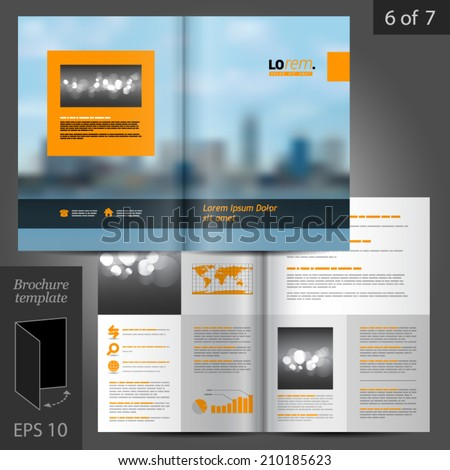 Blue business vector brochure template design with cityscape, black and orange design elements - stock vector