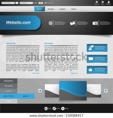 blue business website template - home page design - clean and simple - with a space for a text  - stock vector