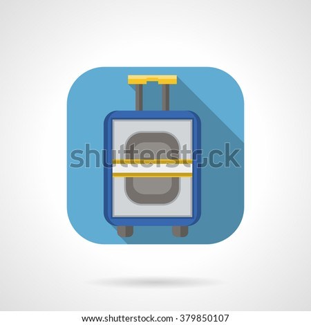 Blue button for baggage or luggage. Bag with handle and wheels. Travel and tourism. Flat color rounded corners style vector icon. Web design element for site, mobile and business. - stock vector