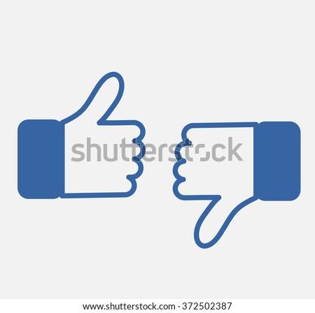Blue Button Hand Like and Dislike Icon Vector Background, JPG, JPEG,EPS Logo facebook design  Download Social media   - stock vector