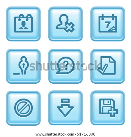 Blue button with icon 2 - stock vector