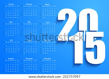 Blue 2015 calendar - stock vector