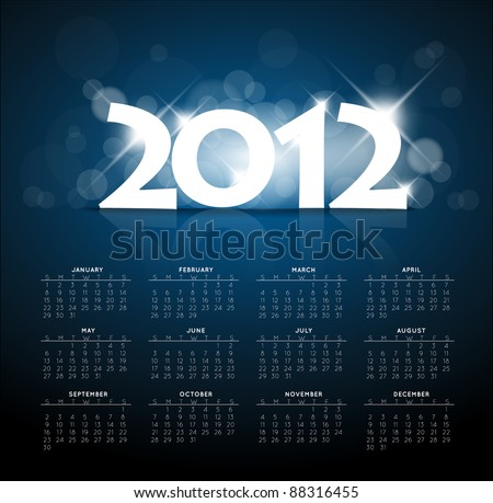 Blue calendar for the new year 2012 with back light and place for your text - stock vector
