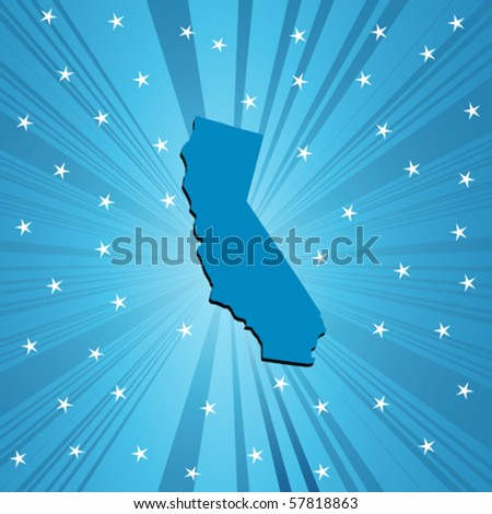 Blue California map, abstract background for your design - stock vector