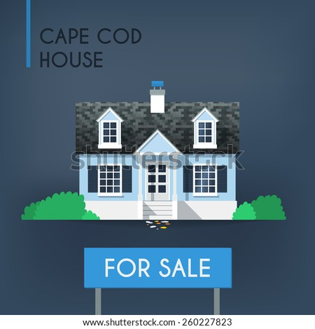 Blue cape cod country house with grey roof and bushes around it - stock vector