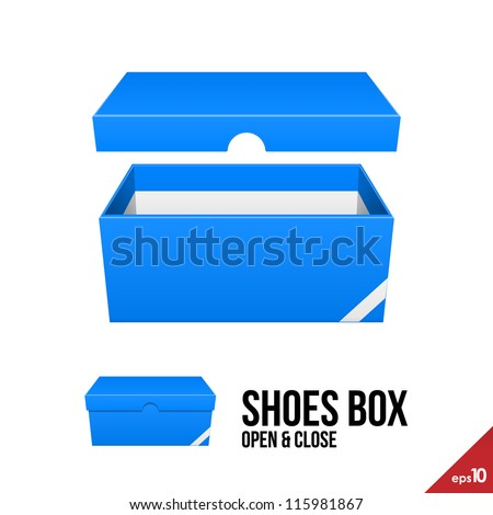 Blue Cardboard Shoes Box Carton Package Open With Lid. Ready For Your Design. Product Packing Vector EPS10 - stock vector