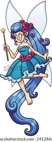 Blue cartoon fairy with magic wand. Vector clip art illustration with simple gradients. Fairy and wings on separate layers. - stock vector