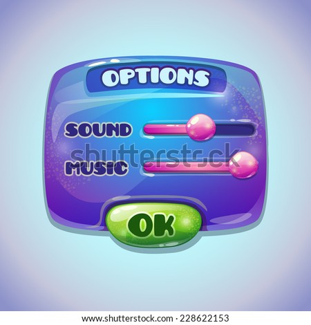 Blue cartoon options panel, settings item for web or game UI design - stock vector