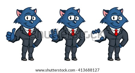 Blue cat mascot. Business but cute character. Set from several body postures and hand gestures. Lovely eyes and big ears. - stock vector
