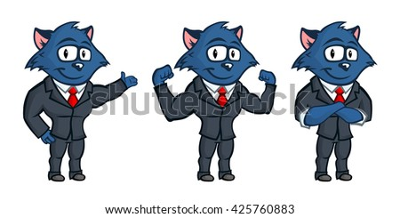 Blue cat mascot. Lovely eyes and big ears. Set from several body postures and hand gestures. Business but cute character.  - stock vector