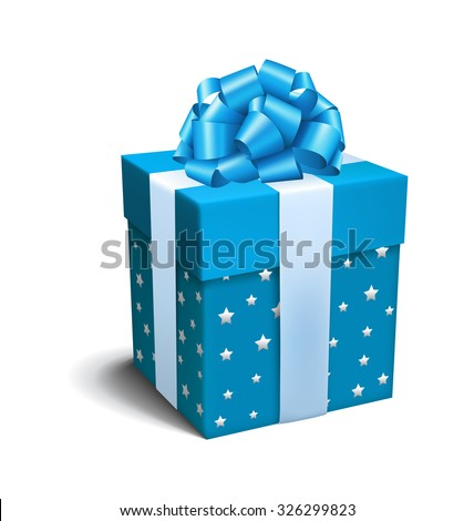Blue Celebration Gift Box with Bow Isolated on White Background - stock vector
