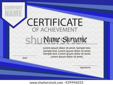 Blue certificate of achievement template. Horizontal. Winning the competition. Reward. Award winner. Vector illustration. - stock vector