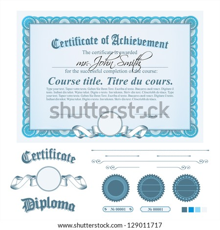 Blue certificate template. Horizontal. Additional design elements. - stock vector