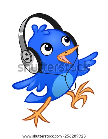 Blue cheerful birdie with a headphones on the white background. - stock vector