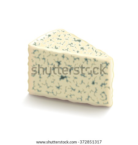 Blue cheese isolated on white photo-realistic vector illustration - stock vector