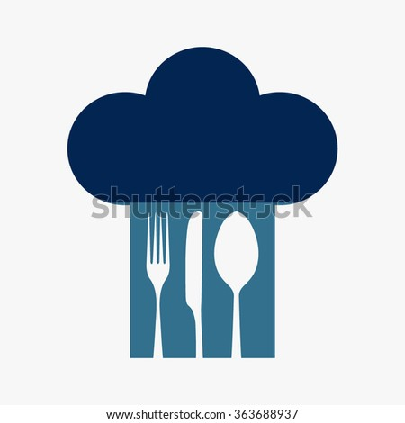 Blue Chef hat with fork, spoon and knife inside  - stock vector