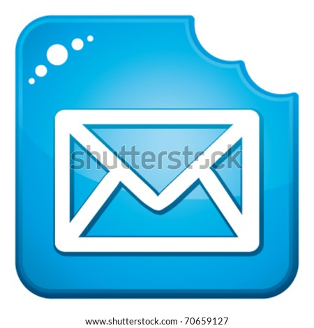 Blue chewed contact icon. Vector and isolated. - stock vector