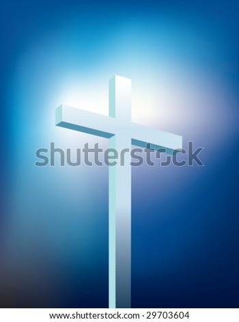 blue christian cross - stock vector