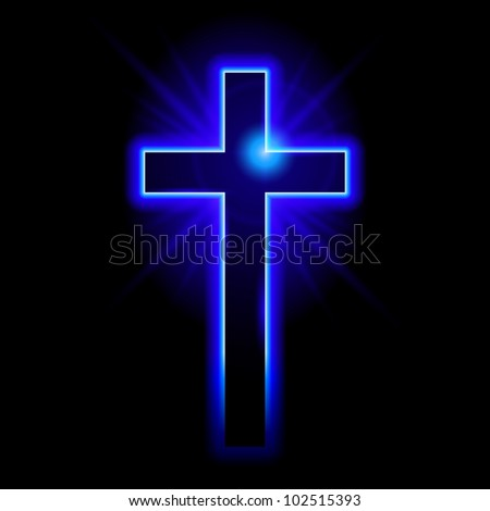 Blue Christian symbol of the crucifix. Illustration on black background - stock vector