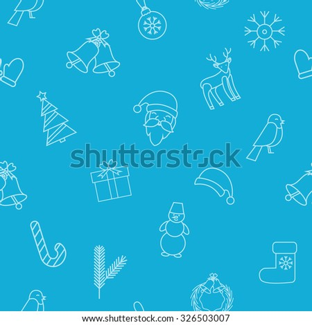 Blue christmas and new year background. Santa Claus, bell, Christmas decorations, reindeer, snowflake, Christmas tree, gift, Bullfinch, Christmas hat, snowman. Vector Christmas seamless pattern. - stock vector