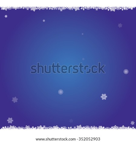 Blue Christmas backdrop with falling snowflakes. EPS image. - stock vector