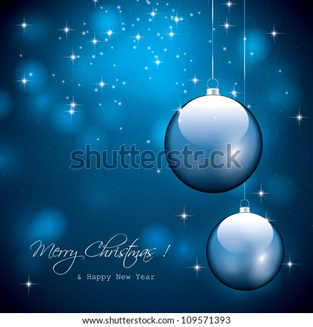 Blue christmas background - stock vector