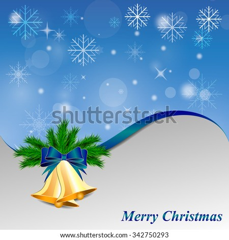 Blue Christmas background with bells and snowflakes - stock vector