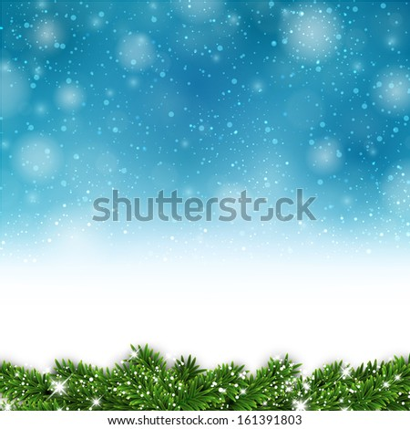 Blue christmas background with fir and snowflakes. Vector illustration. - stock vector