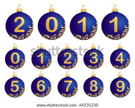 Blue Christmas Balls with numerals 0-9 - stock vector