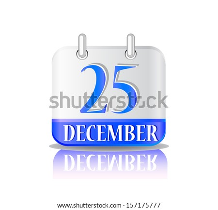 Blue Christmas Calendar Icon Isolated on White Background. - stock vector