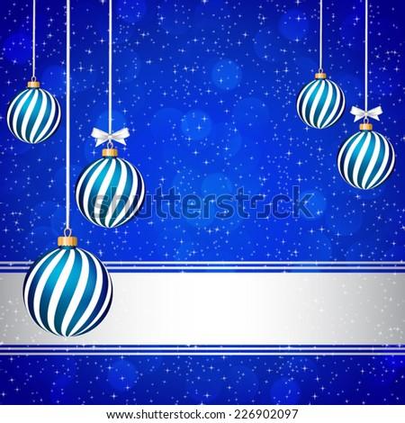 Blue Christmas card with Christmas balls. - stock vector