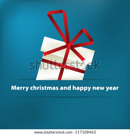 Blue christmas card with gift. + EPS8 vector file - stock vector